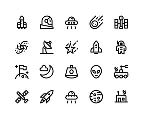Simple Set of Space Related Vector Line Icons. Contains such Icons asrocket, astronaut, alien, comet, satellite and More. pixel perfect vector icons based on 32px grid. Editable Strokes