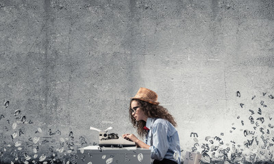 Creative inspiration of young female writer.