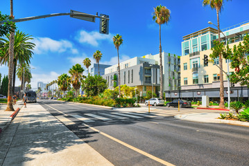 Foto op Plexiglas Verenigde Staten City views, Santa Monica streets - a suburb of Los Angeles. California.USA.