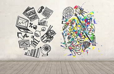 Science and Arts sketch drawn on a plastered wall. Education concept.