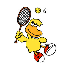 Yellow duck playing tennis