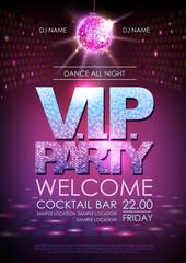 Disco ball background. Disco poster V.I.P. party. Neon