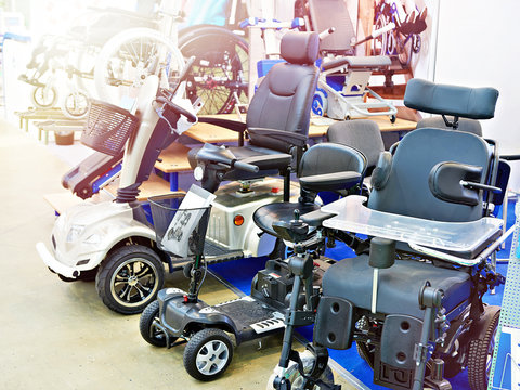 Wheelchairs with electric motor in store