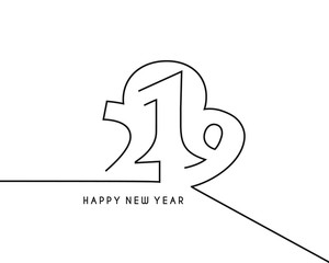 Happy New Year 2019 Line Text Design, Vector illustration.