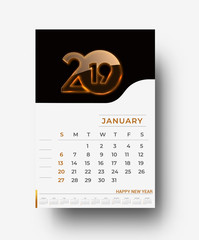 Happy new year 2019 Calendar - New Year Holiday design elements for holiday cards, calendar banner poster for decorations