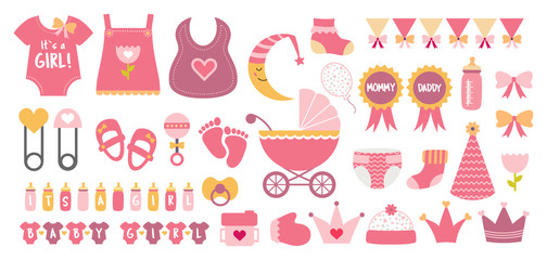 Baby shower icon vector set  pastel pink colors