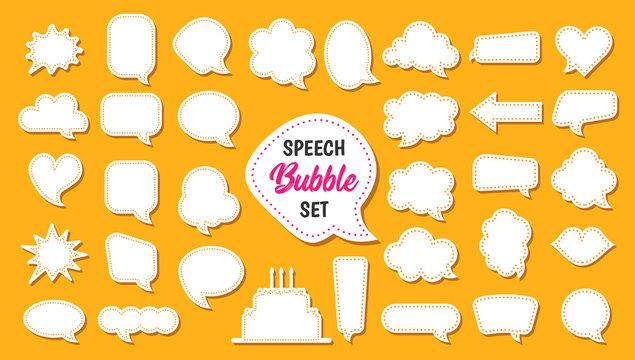 Speech bubble vector set in cartoon style