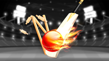Cricket bat, stumps and ball in fire on night stadium background.