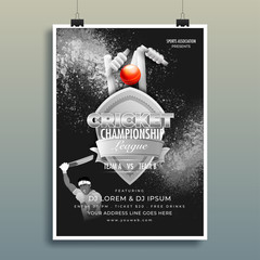 Cricket championship template or flyer design with match timing and venue details on black grunge background.