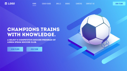 Website or mobile apps landing page design, 3d illustration of football on shiny blue background for Soccer tournament concept.