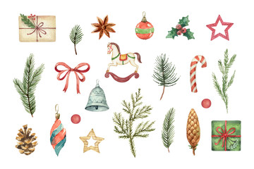 Watercolor vector Christmas set with fir branches, balls and gifts.