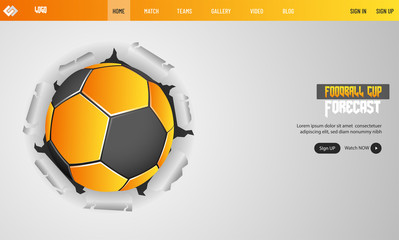 Torn paper style landing page design for soccer tournament with football illustration on gray background.