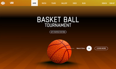 Basketball tournament landing page design with illustration of basketball on brown background.