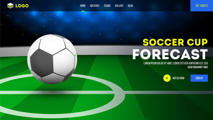 Vector illustration of soccer ball on playground. Soccer cup forecast landing page design.