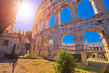 Arena Pula Roman amphitheater at sunset view