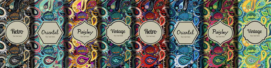 Foto op Canvas Kunstmatig Set of seamless patterns in vintage paisley style.