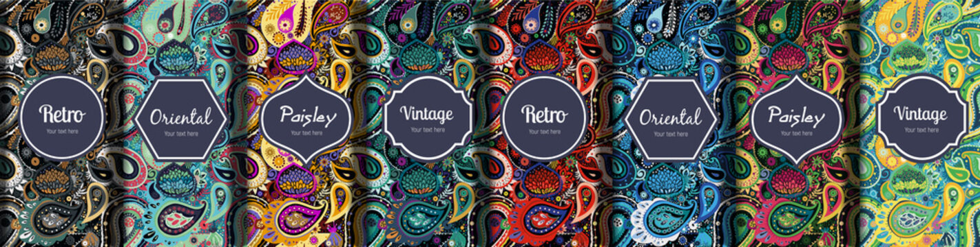 Set of seamless patterns in vintage paisley style.