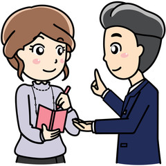 男性女性会社員OL-笑顔で会話、相談