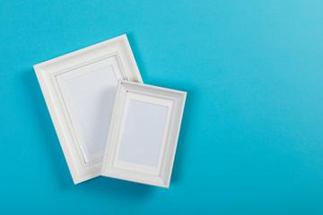 frames on blue background