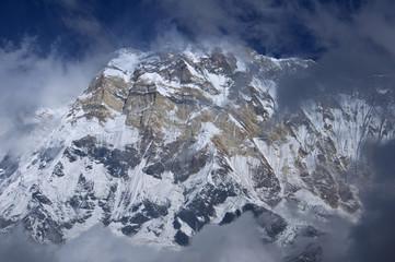 Snowy southern wall of the main peak Annapurna, eight thousandth .. Annapurna Base Camp