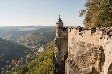 Landscape of konigstein fortress Saxon Switzerland, autumn traveling in Saxon Bastille Fototapete