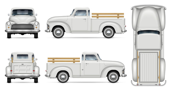 Old truck vector mockup on white background. Isolated white vintage pickup view from side, front, back, top. All elements in the groups on separate layers for easy editing and recolor.
