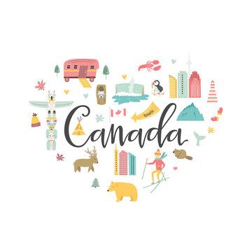 Canada cartoon vector banner. Travel illustration