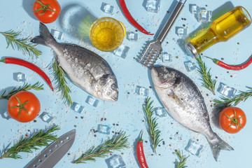 Raw dorada fish with spices, salt, lemon and herbs, rosemary on a ligth-blue background. Top view.