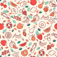 Vector set of sketch of various fruits isolated on a light background. Good background for textiles and print.