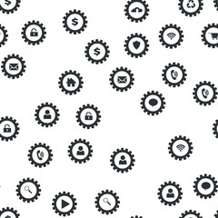 Gears and computer icons. Technology web concept Seamless vector EPS 10 pattern
