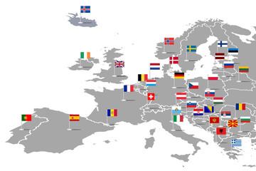 Fototapeta Europa Infografika z flagami państw