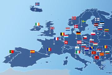 Europa Infografika z flagami państw
