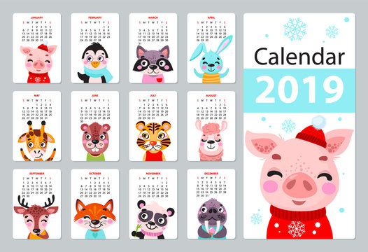 Calendar 2019. Cute monthly calendar with animals. Hand drawn characters. Vector illustration.
