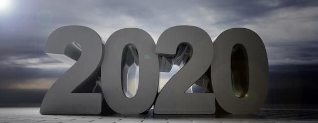 2020 large number, cloudy dark sky background, concrete tiles pavement, banner. 3d illustration
