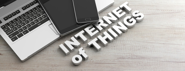Internet of things text and electronic devices, wooden background, banner, copy space. 3d illustration