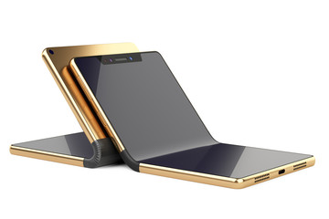 Two golden fexible foldable smartphone - concept.