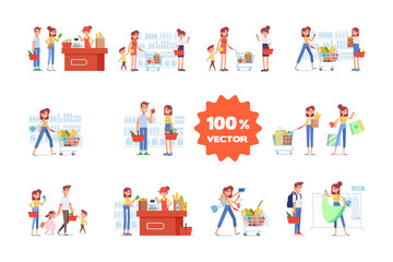 People Shopping in supermarket big vector set. Big sale. Flat vector illustration.