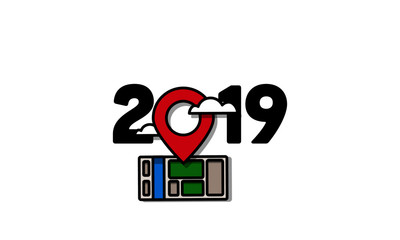 Year 2019 Typography Concept Design with Location Pin