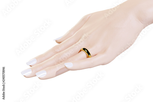 Which Hand Wedding Ring Female.Female Left Hand With Gold Wedding Ring Stock Photo And Royalty