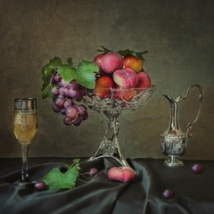 Still life with fruits and wine