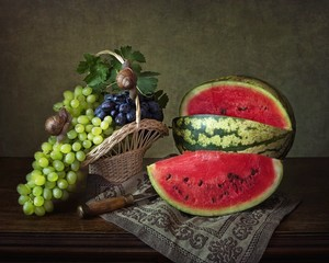 Still life with grapes and watermelon