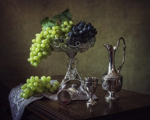 Still life with grapes and wine