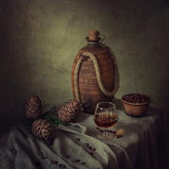Still life with pine nuts