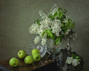 Still life with bouquet of white lilac