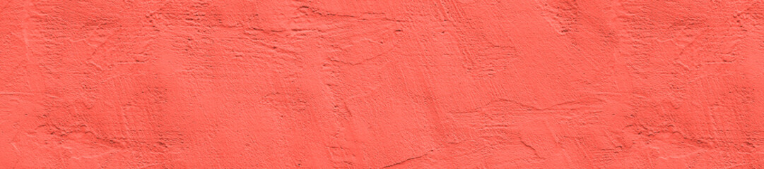 panorama color living coral  concrete wall  texture with plaster