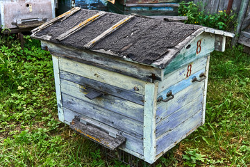 Old empty beehive in the garden near the fence