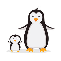 Mother penguin with baby penguin