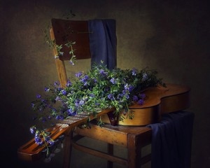 Still life with bouquet alfalfa flowers and guitar
