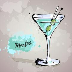 Hand drawn illustration of cocktail martini.