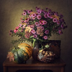 Still life with autumn bouquet flowers